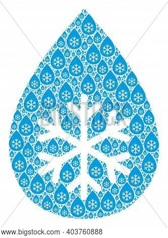 Vector Snow Fresh Drop Collage Is Composed From Repeating Fractal Snow Fresh Drop Icons. Recursive C