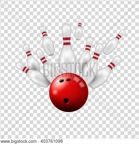 Bowling Ball And Skittles Isolated On Transparent Background, Vector Ninepin Strike On Alley, Bowlin