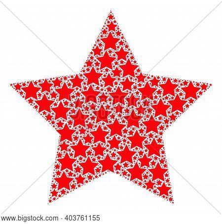 Vector Star Mosaic Is Created Of Random Recursive Star Pictograms. Recursive Mosaic From Star.