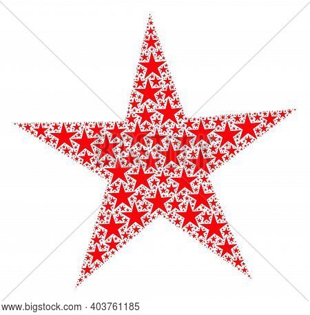 Vector Star Mosaic Is Formed Of Repeating Fractal Star Pictograms. Fractal Mosaic Of Star.