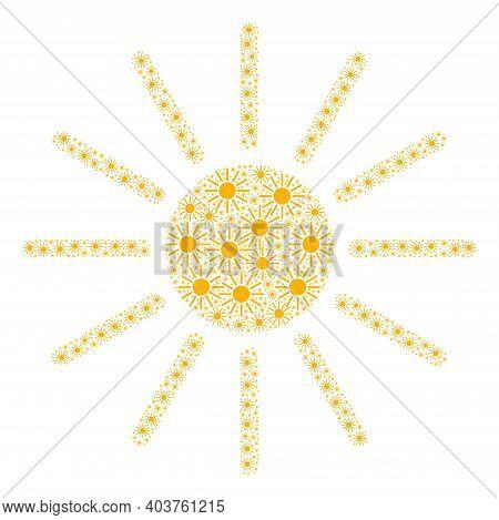Vector Sun Mosaic Is Made Of Random Recursive Sun Parts. Recursive Composition Of Sun.