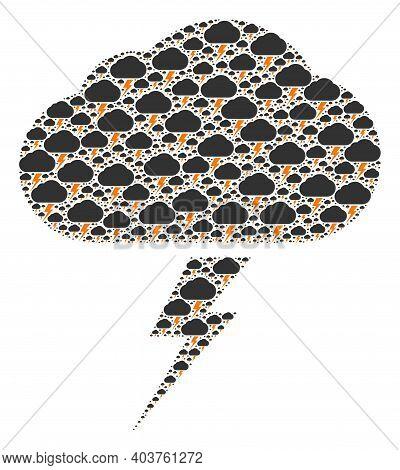 Vector Thunderstorm Fractal Is Created From Random Recursive Thunderstorm Items. Recursive Mosaic Fr