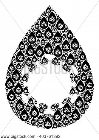 Vector Virus Drop Mosaic Is Designed From Scattered Fractal Virus Drop Icons. Fractal Mosaic From Vi