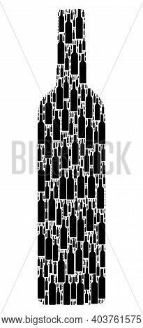 Vector Wine Bottle Collage Is Composed Of Randomized Itself Wine Bottle Items. Recursion Collage Of