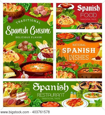Spanish Cuisine Food, Menu Meals And Dishes, Spain Restaurant Meat, Paella And Snacks Tapas, Vector.