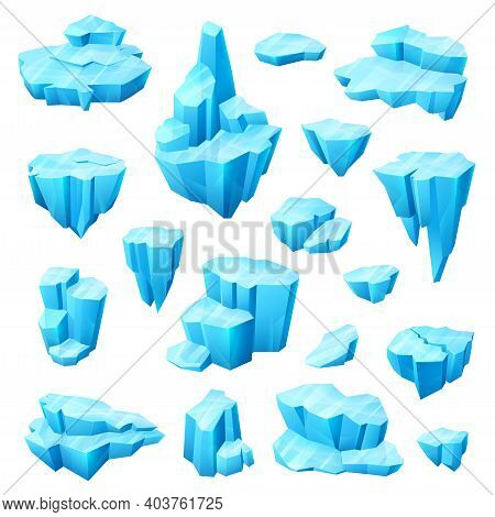 Ice Crystal, Glacier And Iceberg Cartoon Set Of Winter Vector Design. Cold Blocks And Cubes Of Froze