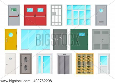 Entrance Doors Isolated Vector Icons. Cartoon Interior And Exterior Design Elements For Room Or Offi