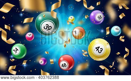 Lottery Balls 3d Vector Bingo, Lotto Or Keno Gambling Games. Gaming Leisure Activity Recreation, Lot