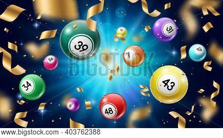 Lottery Balls 3d Vector Bingo, Lotto Or Keno Gambling Games. Gaming Leisure Activity Recreation, Lot