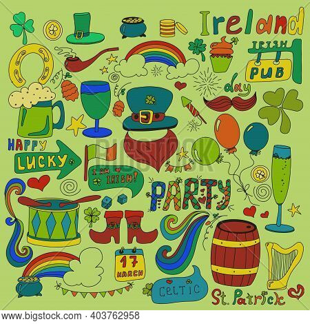 St. Patrick S Day Set With Hand-drawn Pictures. A Doodle Of Beer, A Rainbow, A Leprechaun S Beard, C