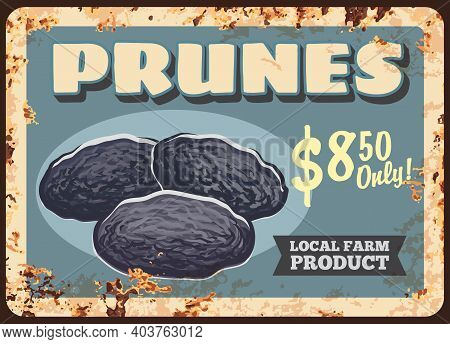 Prunes Dried Plums Fruits Rusty Metal Plate, Food Sweets And Farm Market Price, Vector Vintage Poste
