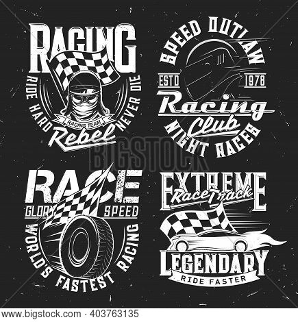 Tshirt Prints With Car Rally, Racing Club And Motorsport Championship, Vector T Shirt Prints Mockup.