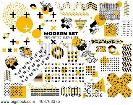 Memphis Shapes Element. Funky Design, Isolated Geometric Graphic Pattern. Retro Black Art, Modern Ha