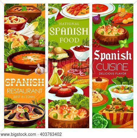 Spanish Cuisine Food Menu Paella Seafood And Tapas, Vector Snacks, Soups And Meat. Spain Mediterrane