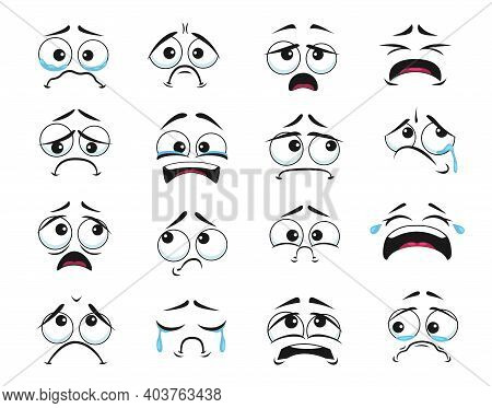 Cartoon Faces With Crying And Weeping Expression Isolated Vector Icons, Negative Emoji Scared, Sad A