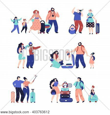 Tourist People. Travel Couple, Isolated Travellers With Luggage. Vacation Person Selfie, Happy Famil
