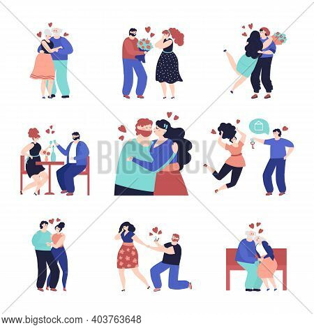 Couple In Love Characters. Loving People, Happy Woman Man With Gift. Romance Character In Restaurant