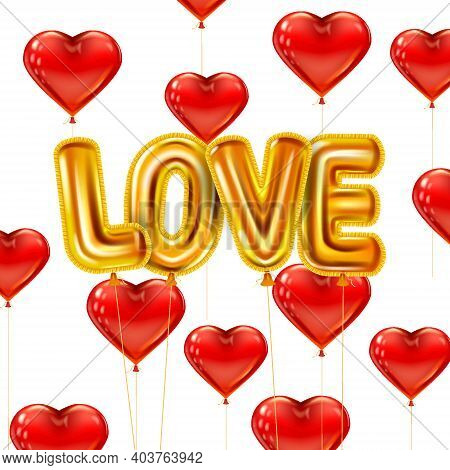 Love Gold Helium Metallic Glossy Balloons Realistic Text. Background Flying Red Heart Balloons Shape