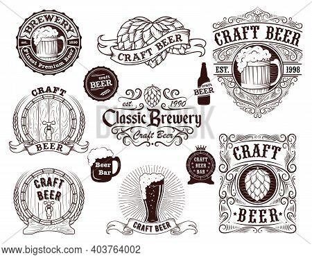 Craft Beer Brewery Label Badge Sign Set Concept Symbol Of Alcohol Bar. Vector Illustration Of Sticke