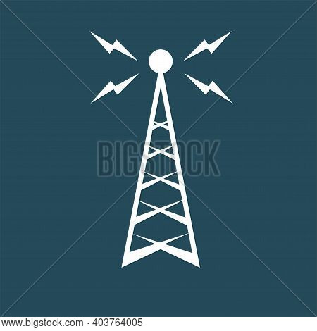 Retro Radio Mast With Radio Waves For Broadcast Transmission Line Art Vector Icon For Apps And Websi