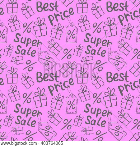 Vector Seamless Pattern With Inscriptions And Symbols Sale. Hand Drawn Background And Texture On The