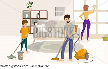 Cartoon Color Characters People Family Cleaning The House Concept Flat Design Style. Vector Illustra