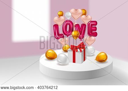 Love Red Helium Metallic Glossy Balloons Realistic Text, Box Gift, Inerior Pedestal, Flying Pink Gol