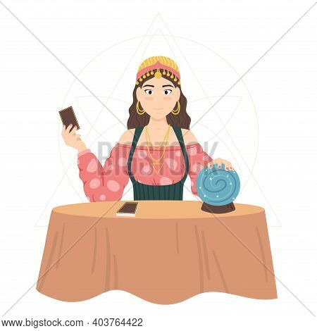 Cartoon Color Character Person Woman Fortune Teller Concept With Crystal Ball And Cards Flat Design