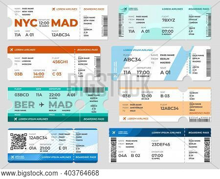 Boarding Pass. Board Tickets, Airplane Travel Flight Page Template. Blank Invitation On Plane, Trans
