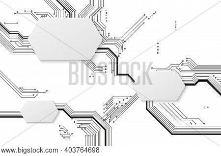 Motherboard Background. Technology Circuit, Tech Art Graphics With Connection Lines. Modern Engineer