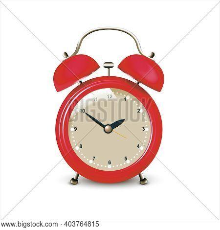 Realistic Detailed 3d Retro Red Alarm Clock Symbol Of Deadline Or Reminder. Vector Illustration Of M