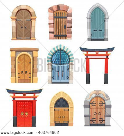 Cartoon Gates And Doors Vector Wooden And Stone Medieval Asian, European Or Fairytale Arched Or Rect