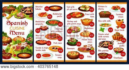 Spanish Cuisine Food Menu And Tapas, Vector Paella Plate With Seafood Fish And Meat. Spain Restauran