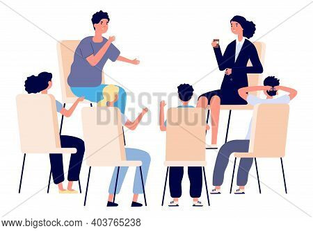 People Meeting. Psychotherapy Training, Business Lecture Or Conference. Persons Sitting Talking. Man