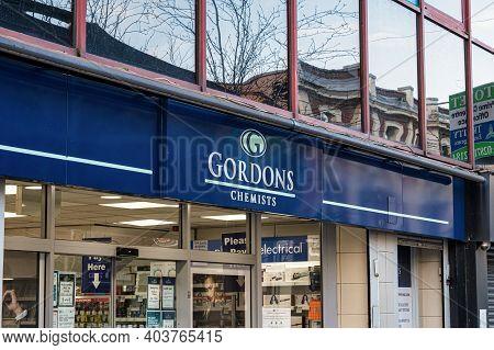 Derry, Northern Ireland- Jan 16, 2020:gordons Chemists  In The City Of Derry