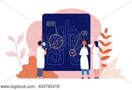 Pulmonology Concept. Lung Diagnosis, Tuberculosis Pneumonia Treatment. Smoking Risks, Doctors Respir
