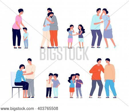 Family Consoled. Cartoon Supportive Friend, Grief Or Depression Comforted. Husband Support Wife, Mot