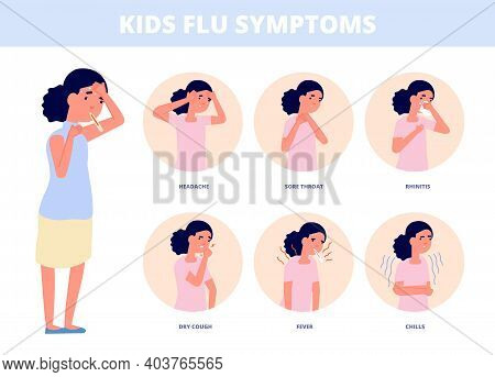 Kids Cold Symptoms. Kid With Flu, Girl Cough High Temperature Or Fever. Child Has Infection, Diagnos