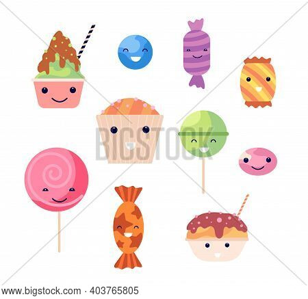 Kawaii Sweets. Smile Sweet Desserts, Crazy Candy Cupcake And Lollipops. Emoticon Food, Isolated Bisc