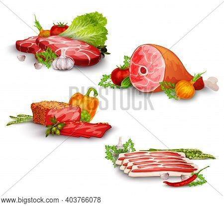 Meat Pork And Beef Steaks With Vegetables Food Set Isolated Vector Illustration