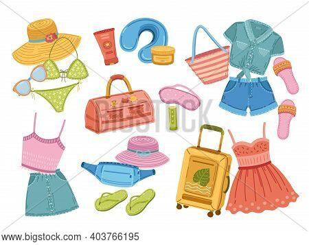 Travel Stuff. Traveller Suitcase, Doodle Fashion Shoes And Clothes. Tourism Baggage, Vacation Or Jou