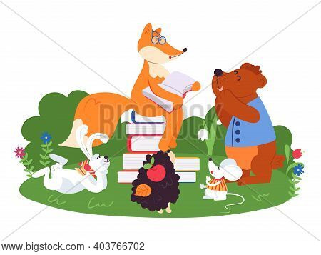 Animal Friends Reading. Fun Animals School, Bear Fox Rabbit Read Book. Cartoon Children Wildlife Cha