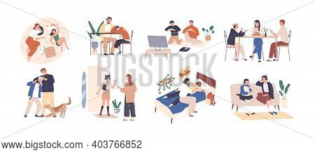 Set Of Parents And Kids Spending Happy Time Together Playing, Talking And Supporting Children. Colle