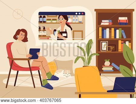 Video Streaming. Woman Watch Online Show, Beauty Information Channel. Blogger, Female Character Rela