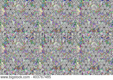 Seamless Raster Pano Pattern With White Floral Doodles