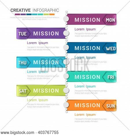 Weekly Planner Business For 7 Day, 7 Options, Timeline Infographics Design Vector.
