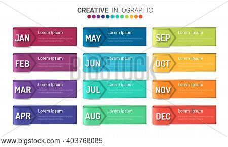 Presentation Business For 12 Months, 1 Year, Can Be Used For Business Concept With 12 Options, Steps