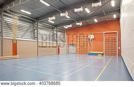 Interior Of A Large School Gym Hall, No Children