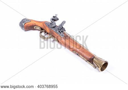 Old Wooden Gun Isolated On A White Background
