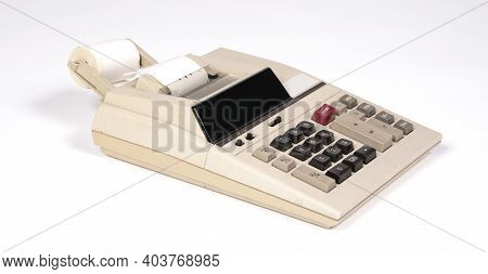 Old Fashioned Calculator, Isolated On A White Background